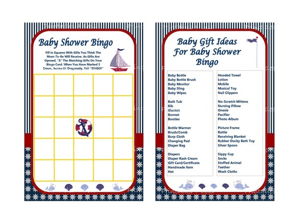 nautical baby shower bingo game printable nautical bingo etsy