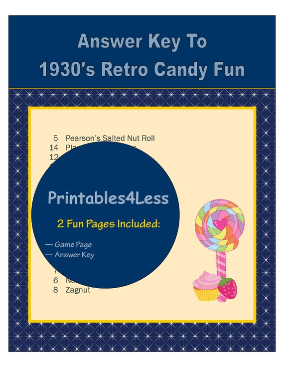 1930s Candy Trivia Game, Candy Quiz, Candy Bar Game, 1930s Party Candy  Game, Printable Trivia, Group Game, Ice Breaker Game -Printables4Less