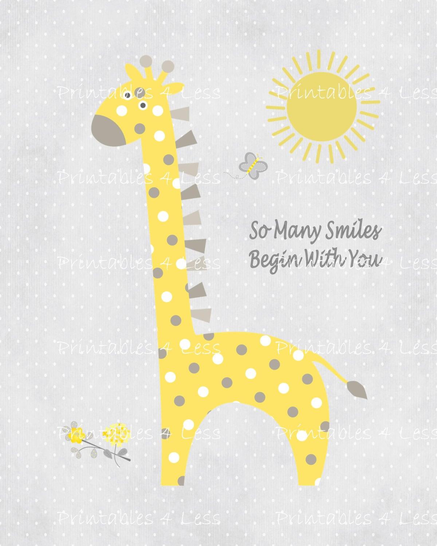 Yellow Gray Giraffe Wall Art Printable Giraffe Art DIY | Etsy