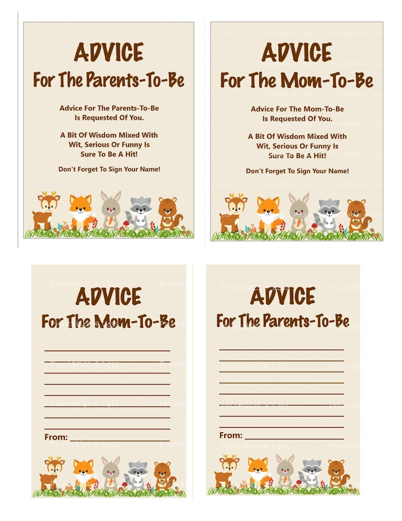 picture relating to Mommy Advice Cards Printable called Woodland Suggestions For Mother Card, Printable Assistance For Mother, Tips For Dad and mom, Youngster Shower Guidance For Mother Card - Printables 4 A lot less 0087