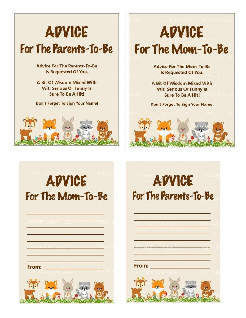 photograph regarding Mommy Advice Cards Printable named Woodland Tips For Mother Card, Printable Assistance For Mother, Assistance For Mom and dad, Little one Shower Information For Mother Card - Printables 4 Fewer 0087