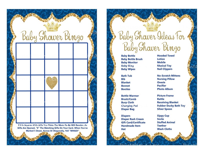 image regarding Musical Bingo Cards Printable titled Prince Bingo Recreation Card, Printable Prince Kid Shower Bingo Card, Quick Child Bingo, Royal Blue Gold Prince Bingo - Printables 4 Considerably less 0112
