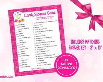 Candy Game, Candy Slogan Game, Printable Valentine Game, Candy Trivia Game, Candy Bar Game, Candy Quiz, Ice Breaker Game - Printables 4 Less