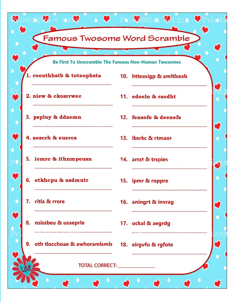 graphic about Word Scramble Printable named Valentine Term Scramble, Printable Valentine Video game, Do it yourself Valentine Get together Term Sport, Valentine Couple of Activity, Local community Activity - Printables 4 Significantly less