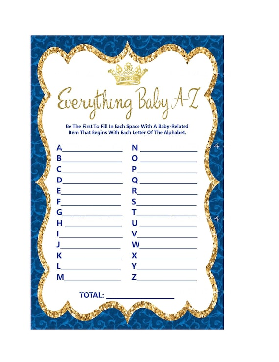 Prince A To Z Game Baby Alphabet Game Prince Baby Shower Abc Etsy