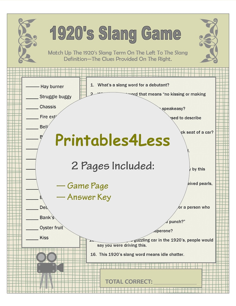 graphic relating to Printable Party Games for Adults identified as 1920s Slang Online games, Flapper Celebration Video games, Household Reunion Online games, Local community Social gathering Video games, Icebreaker Game titles, Printable Celebration Game titles - Printables 4 Much less