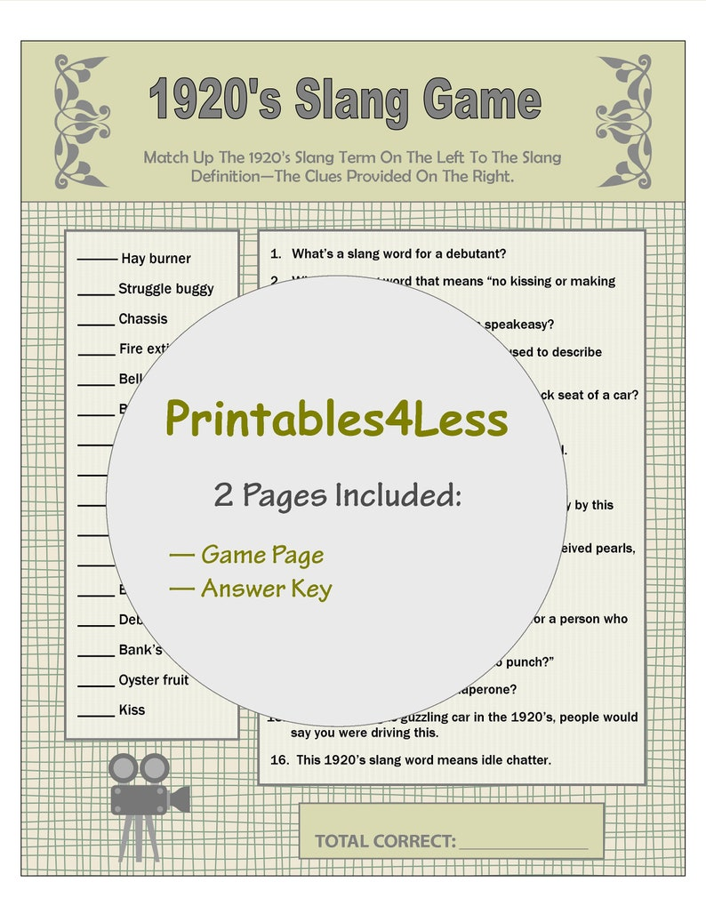 graphic about Printable Party Games for Adults named 1920s Slang Video games, Flapper Celebration Game titles, Family members Reunion Game titles, Local community Social gathering Game titles, Icebreaker Game titles, Printable Occasion Online games - Printables 4 Significantly less