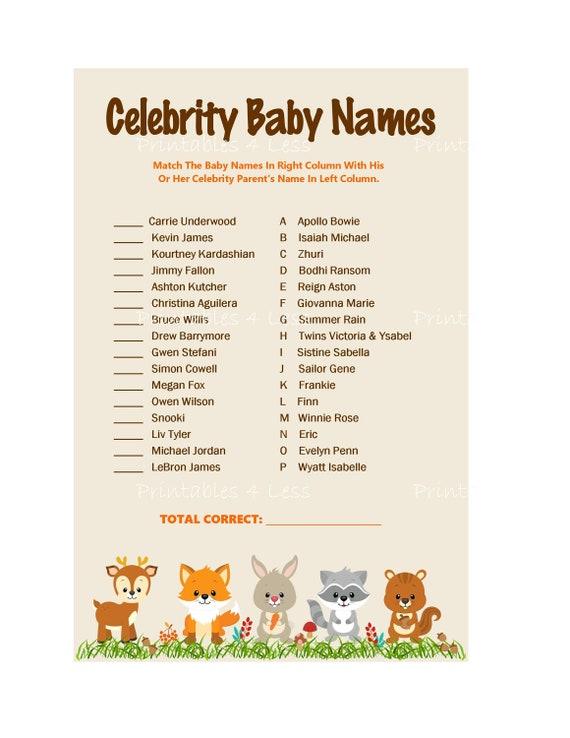 Woodland Celebrity Baby Names Baby Shower Celebrity | Etsy