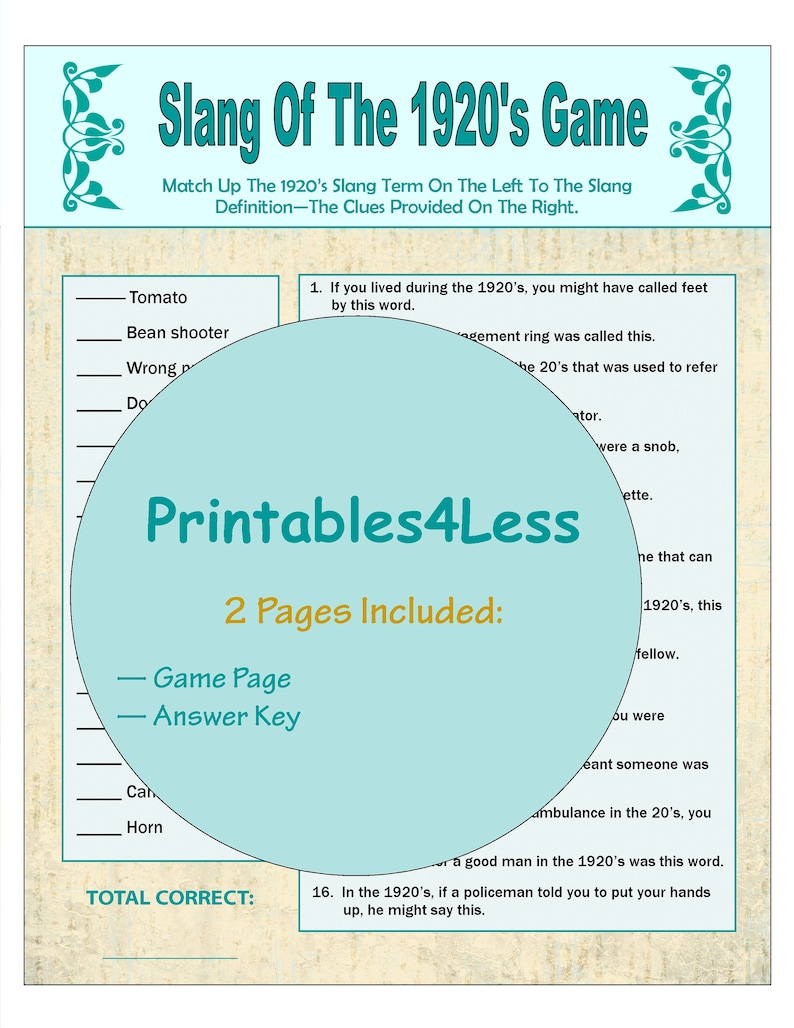1920s Slang Games, 1920s Party Games, Party Group Games, Flapper Party  Games, Dinner Party Games, Brain Teaser Games - Printables 4 Less