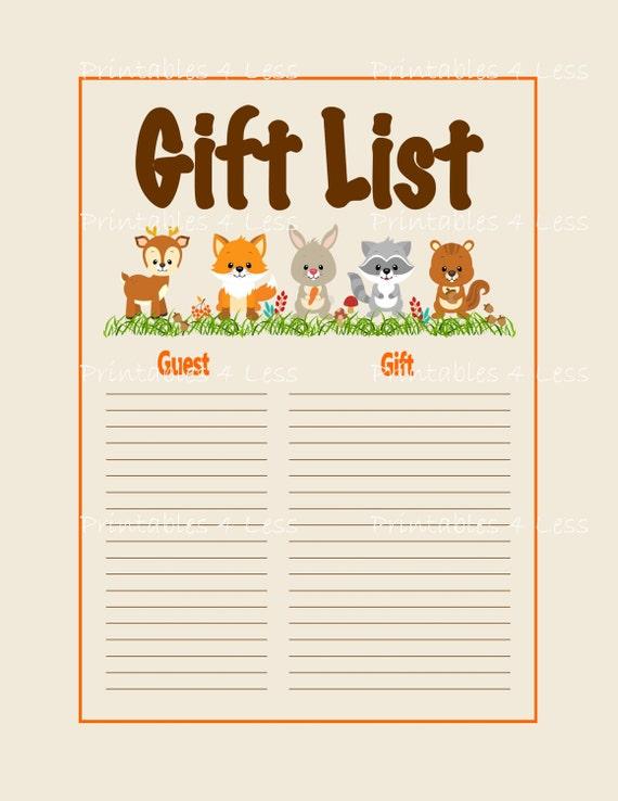 Woodlands Gift List Printable Baby Shower