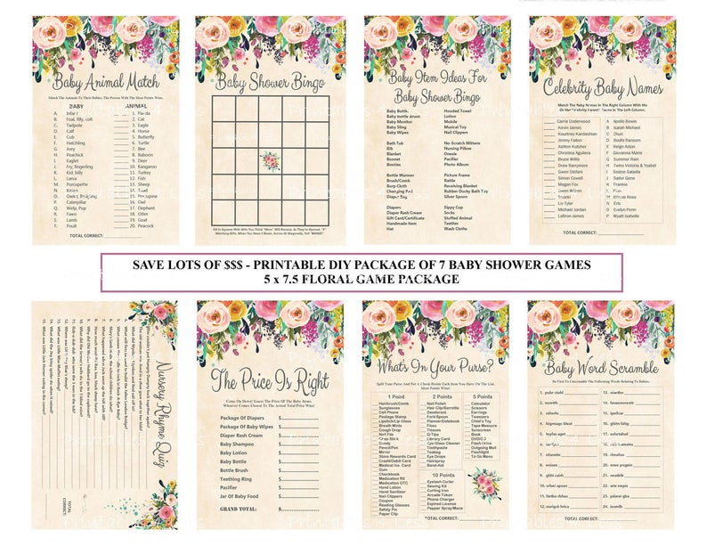 Floral Baby Shower Game Package, Printable Shabby Chic Flower Baby Game,  Watercolor Baby Game, Flower Baby SALE - Printables 4 Less 0041