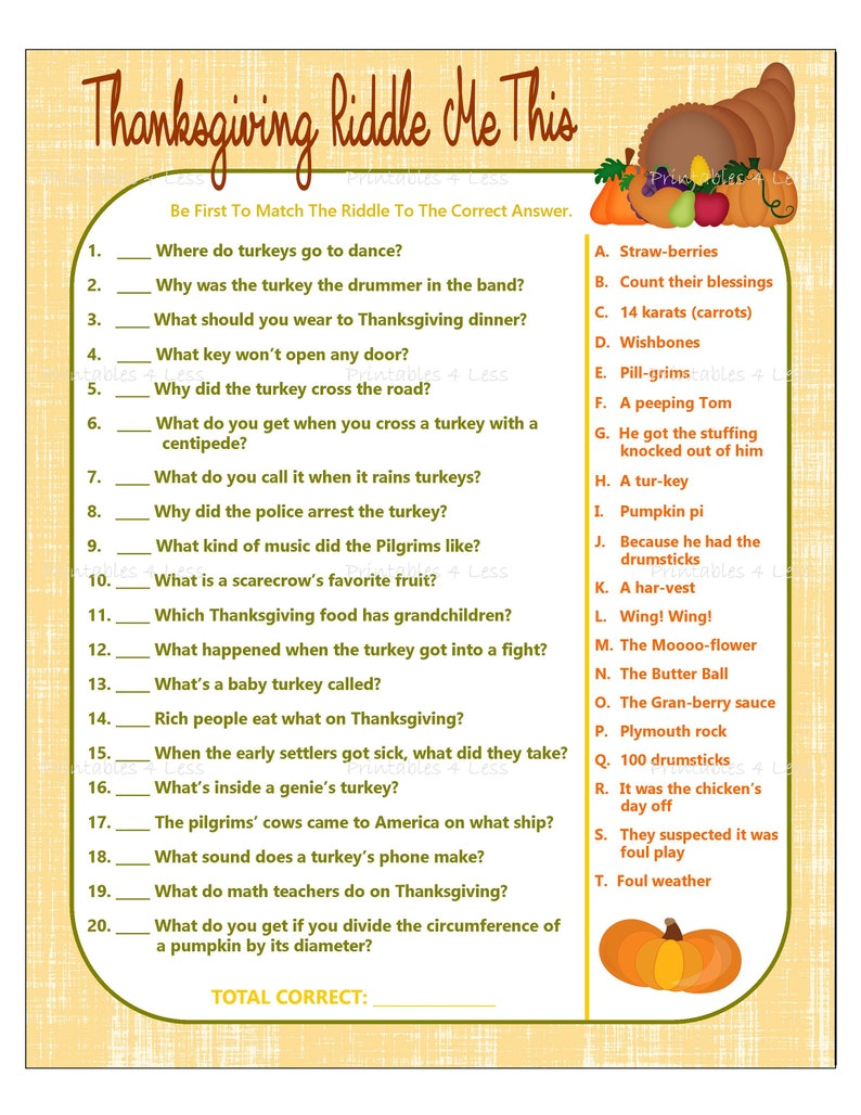 picture regarding Printable Thanksgiving identify Thanksgiving Activity, Printable Thanksgiving Riddle Match, Thanksgiving Bash Recreation, Drop Occasion Match, Boy or girl Thanksgiving Recreation - Printables 4 A lot less