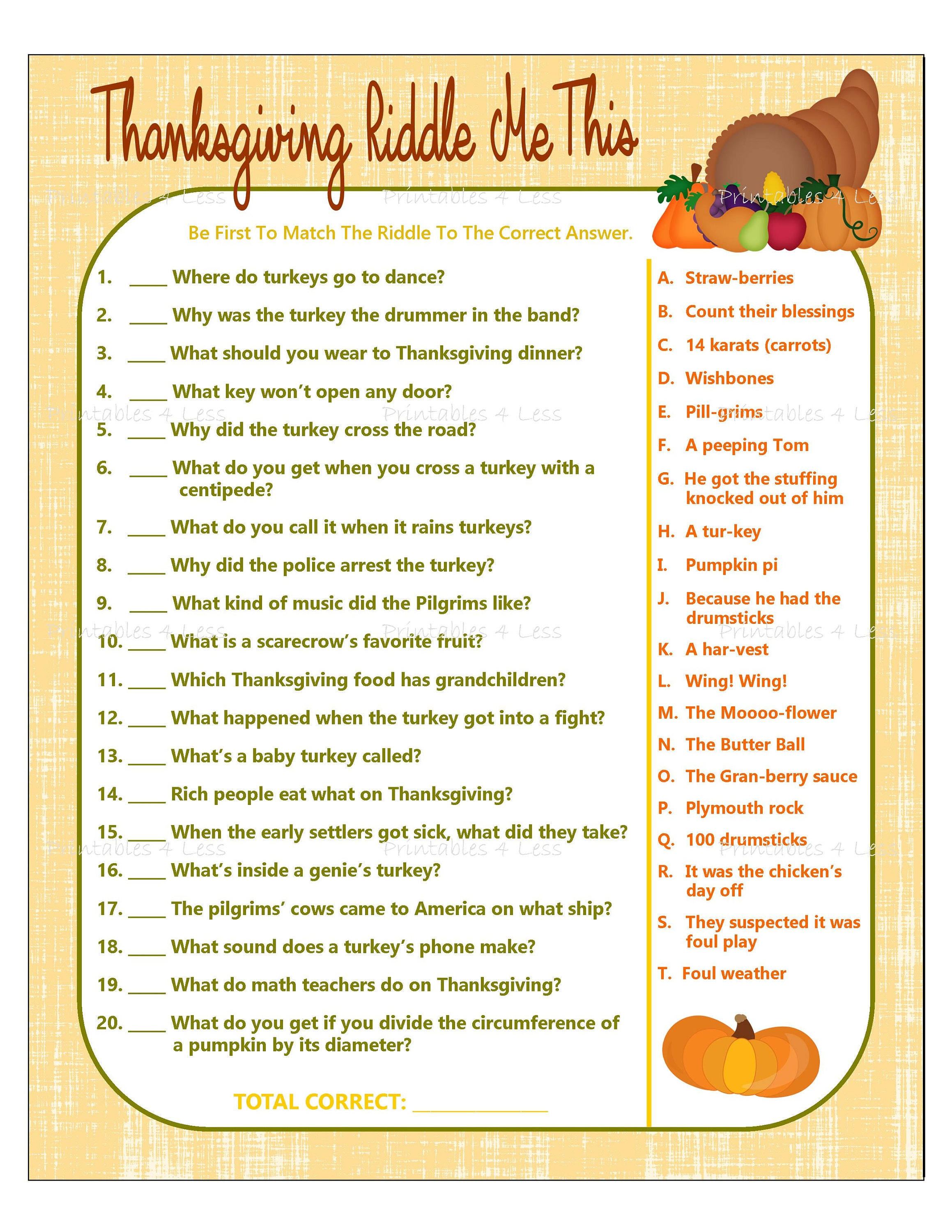 Selective image inside free printable thanksgiving games