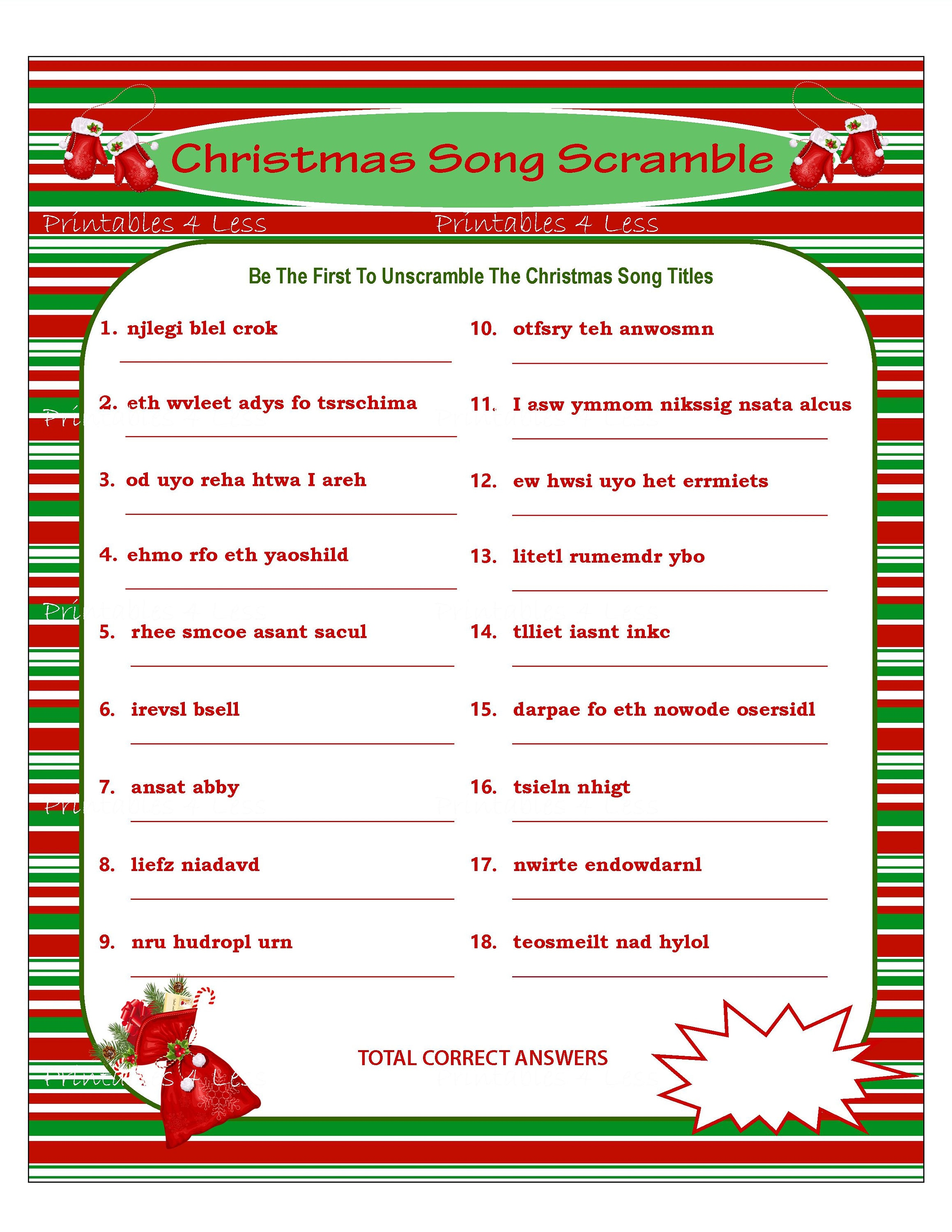 It's just a photo of Simplicity Christmas Song Scramble Free Printable