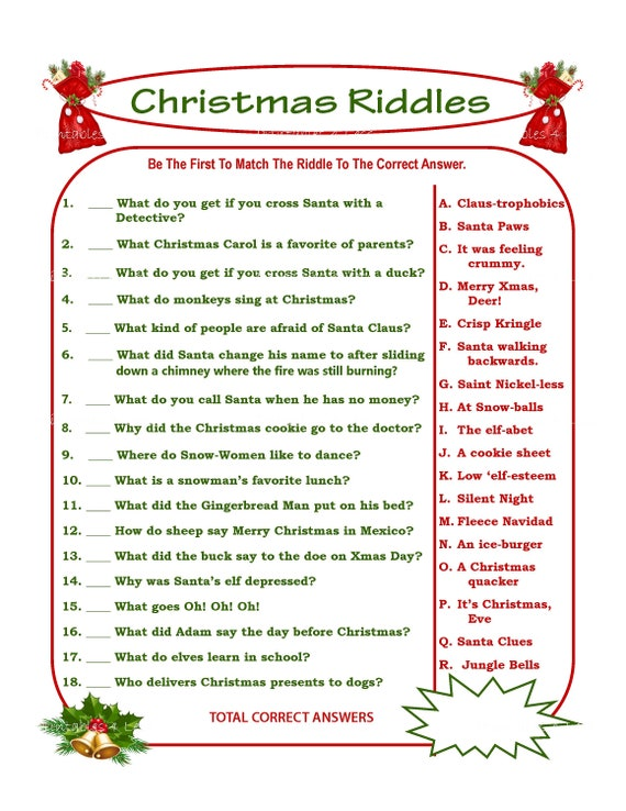 picture relating to Riddles Printable called Xmas Riddle Match, Do-it-yourself Vacation Social gathering Sport, Printable Xmas Video game, Do-it-yourself Recreation For Family vacation, Christmas Recreation Notion, Youngster Recreation - Printables 4 Much less