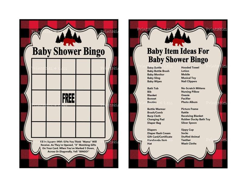 Lumberjack Bingo Game, Printable Buffalo Plaid Baby Shower Bingo, Black Red  Lumberjack Bingo Card, Rustic Bingo Game -Printables 4 Less 0147