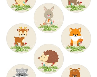 Woodland Cupcake Topper, Forest Cupcake Topper, Fox Cupcake Topper, Woodland Animal Topper, Printable Woodland Baby - Printables 4 Less 0087