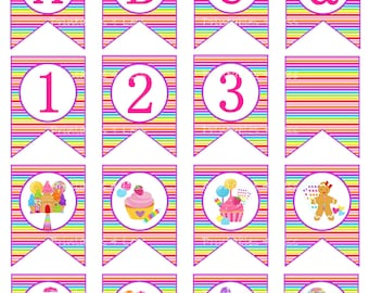 Candy Party Banner, Candy Birthday Banner, Printable Sweet Shoppe Banner, Candy Banner Decoration, Candy Baby Shower, A-Z -Printables 4 Less