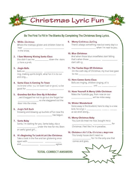 Christmas Carol Music.Christmas Song Game Christmas Music Game Christmas Carol Game Printable Christmas Games Diy Holiday Games Xmas Printables 4 Less
