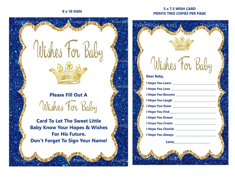 graphic about 5 Wishes Printable Version identify Prince Wants For Little one, Do-it-yourself Youngster Wants Card, Printable Prince Youngster Shower Infant Desires, Nicely Wants For Youngster - Printables 4 Significantly less 0152