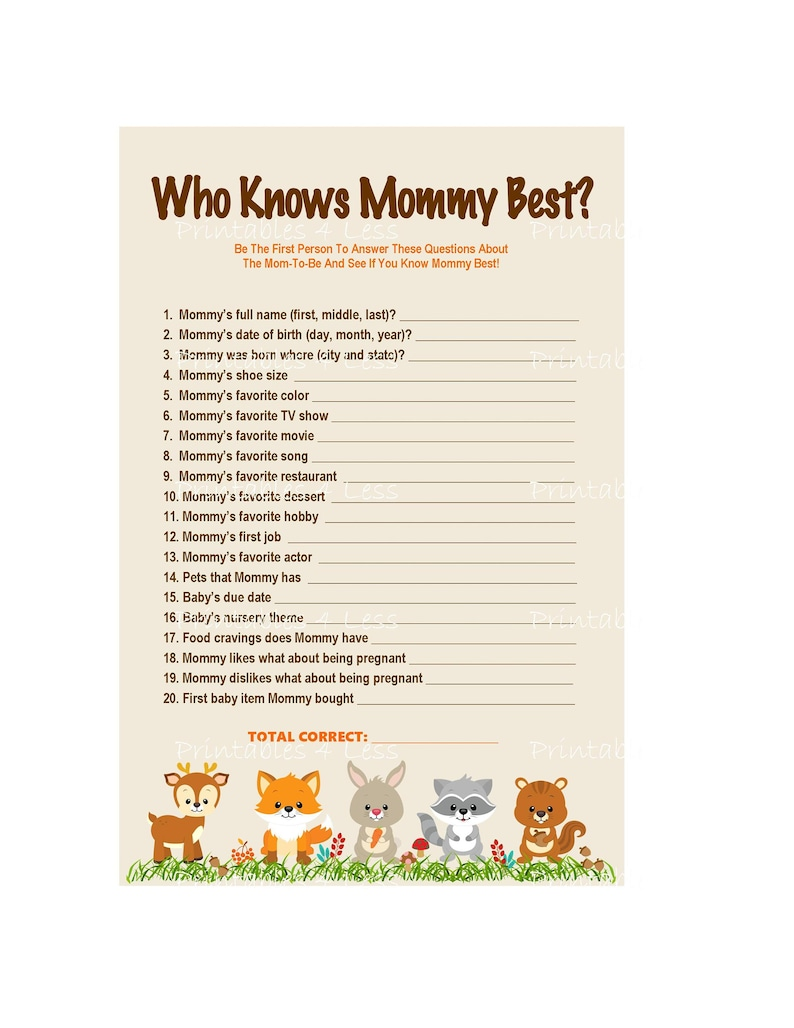 image regarding Who Knows Mommy Best Printable called Woodland Who Appreciates Mommy Perfect, Printable Mommy Video game, Woodland Mommy Match, Do it yourself Woodland Shower Activity, Mommy Towards Be Activity -Printables 4 Much less 0087