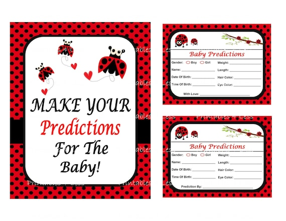 Ladybug Predictions For Baby, Baby Predictions Card, Baby Stats Game, Guess  Baby Birthday, Weight, Shower Prediction -Printables 4 Less 0051