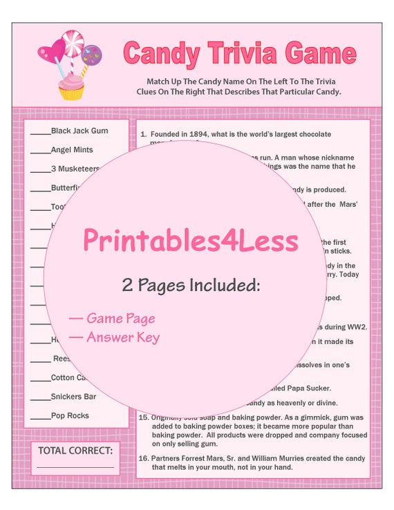Candy Trivia Game Printable Candy Game Ice Breaker Game | Etsy