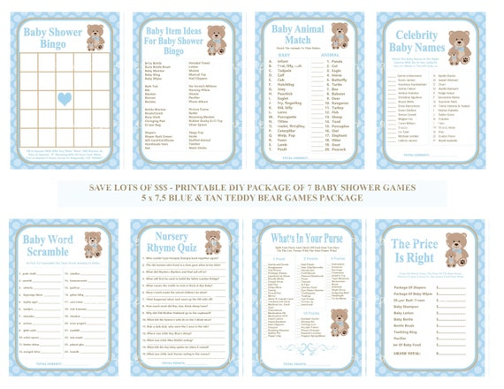 """Modern Baby Blue Chevron Printable Baby Shower /""""Price is Right!/"""" Game Cards"""