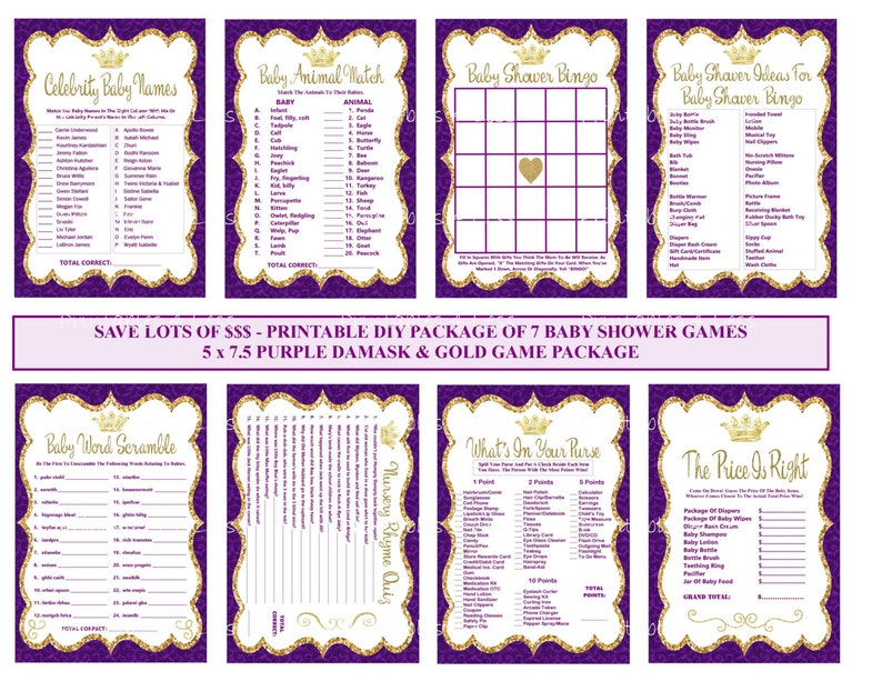 ed2b709c8 Purple Gold Prince Baby Shower Game Purple Gold Baby
