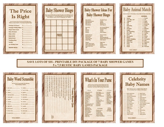 Rustic Baby Shower Game Package Printable Rustic Baby Game Etsy