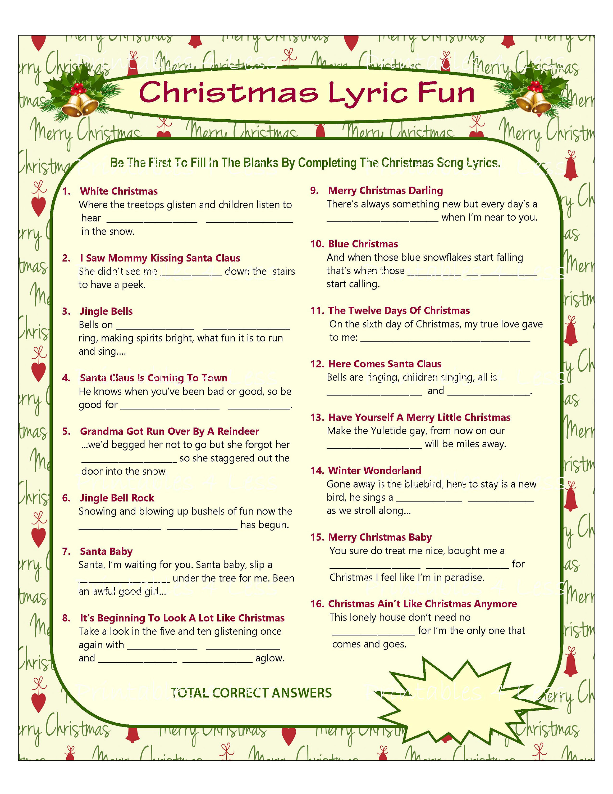 photo regarding Twelve Days of Christmas Lyrics Printable identified as Xmas Track Activity, Xmas Audio Match, Xmas Carol Video game, Printable Xmas Game titles, Do-it-yourself Getaway Video games, Christmas - Printables 4 Much less