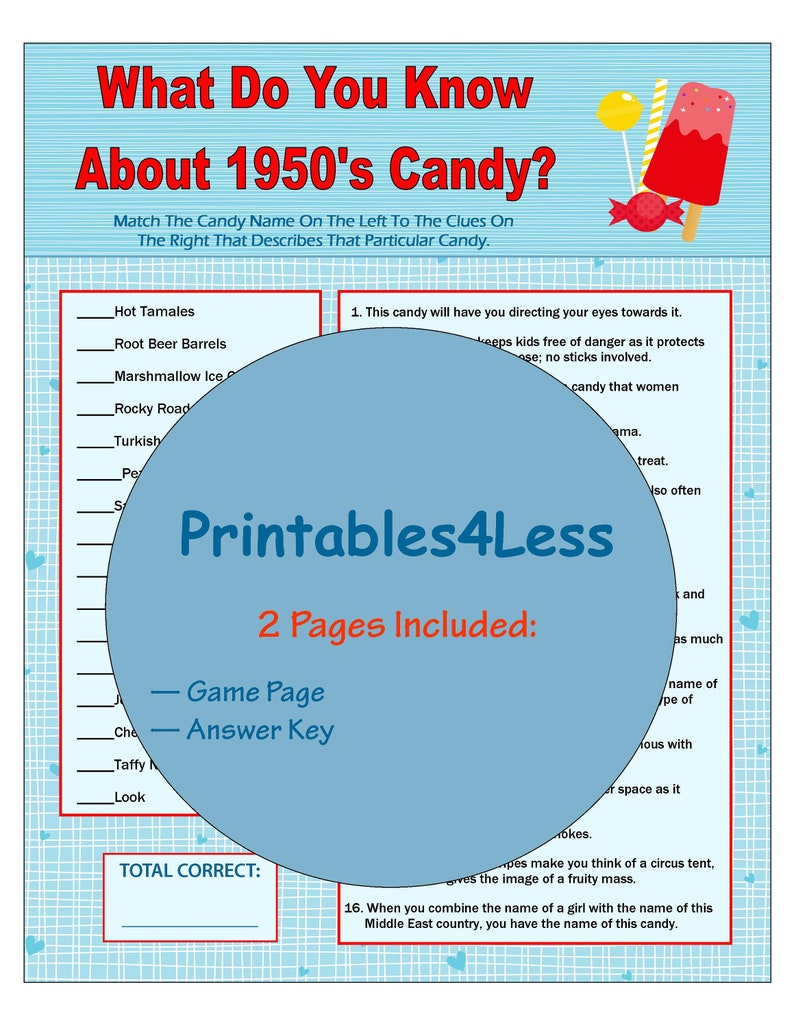 image relating to Printable Trivia for Kids named 1950s Sweet Match, Sweet Trivia Match, Printable Trivia Video game, Intellect Video games, Ice Breaker Video games, Local community Get together Game titles, Neighborhood Recreation -Printables 4 Considerably less