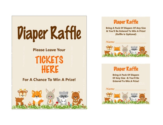woodland diaper raffle ticket printable diaper raffle sign etsy