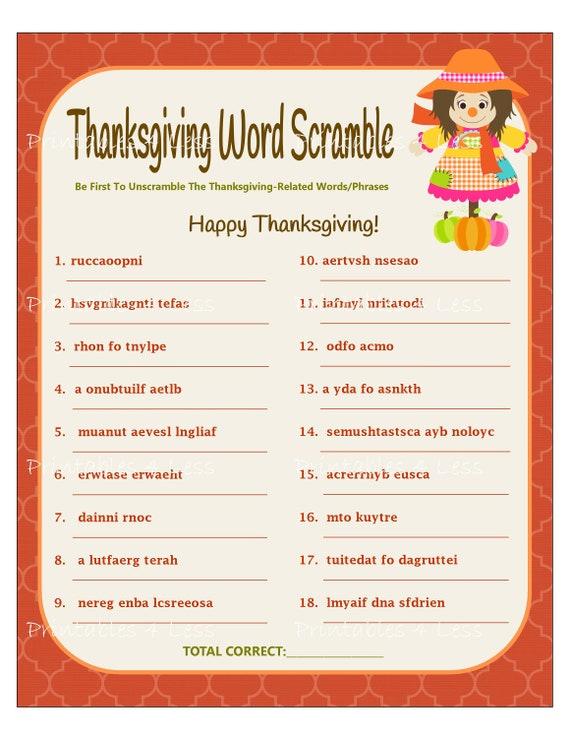 thanksgiving word scramble printable thanksgiving word game etsy