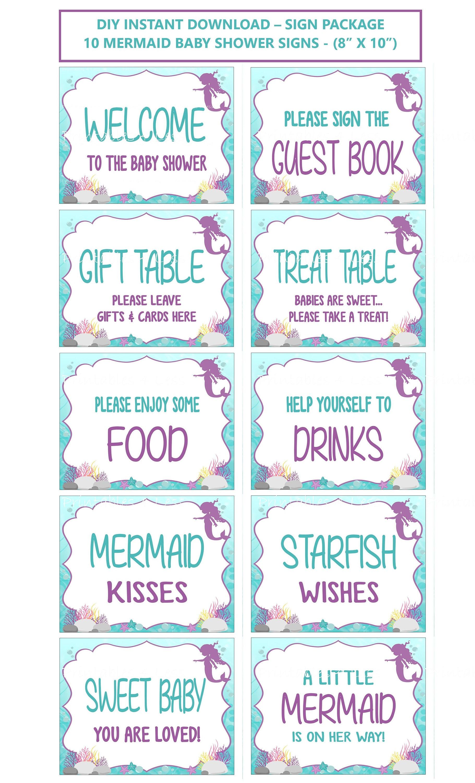 Mermaid Baby Shower Signs Printable Mermaid Signs Aqua Etsy