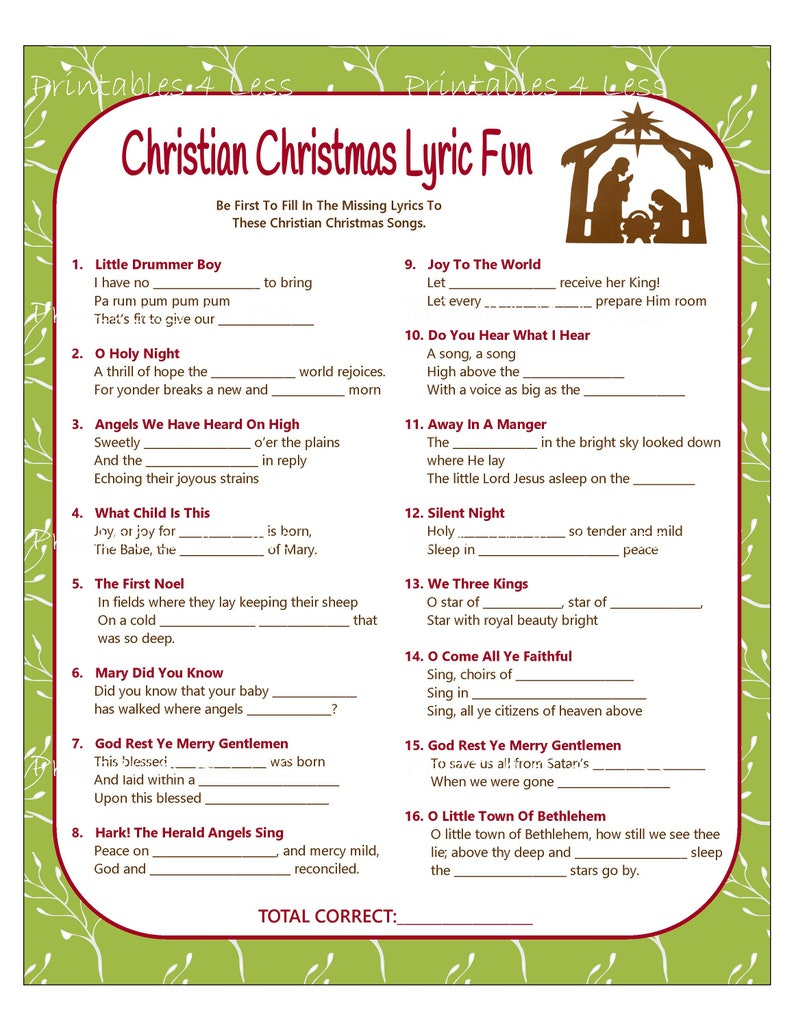 picture regarding Printable Christmas Song Lyrics identified as Christian Xmas Recreation, Printable Xmas Track Activity, Xmas Carol Recreation, Christian Recreation, Celebration Sport For Xmas - Printables 4 Significantly less