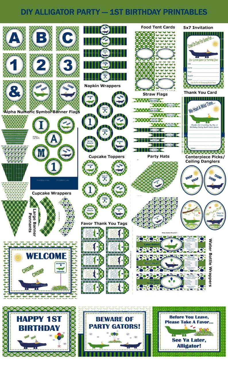 6a9ecb7de981cc 1st Birthday Alligator Party Ideas Printable Alligator Party