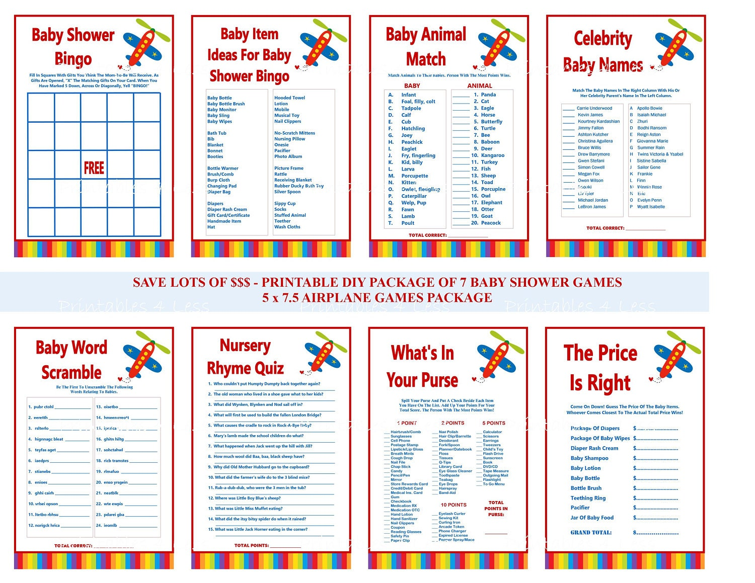 Airplane Baby Shower Game, Printable Airplane Baby Game, Red Airplane Game,  Airplane Shower Game, Aviator Shower SALE - Printables 4 Less