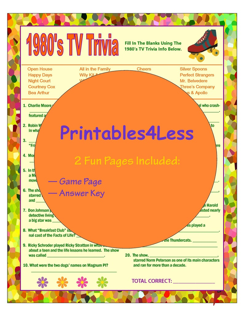 image about Printable Detective Games titled 1980s Television set Trivia Recreation, Do-it-yourself 1980s Game titles, Printable Trivia Sport, 1980s Concept Bash, 1980s Occasion Programs, Mind Term Video games - Printables 4 Much less