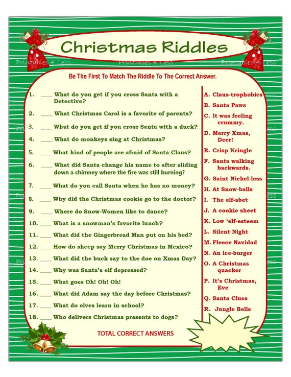 Christmas Riddles.Christmas Riddle Game Diy Holiday Party Game Printable Christmas Game Diy Game For Holiday Xmas Game Idea Kid Game Printables 4 Less