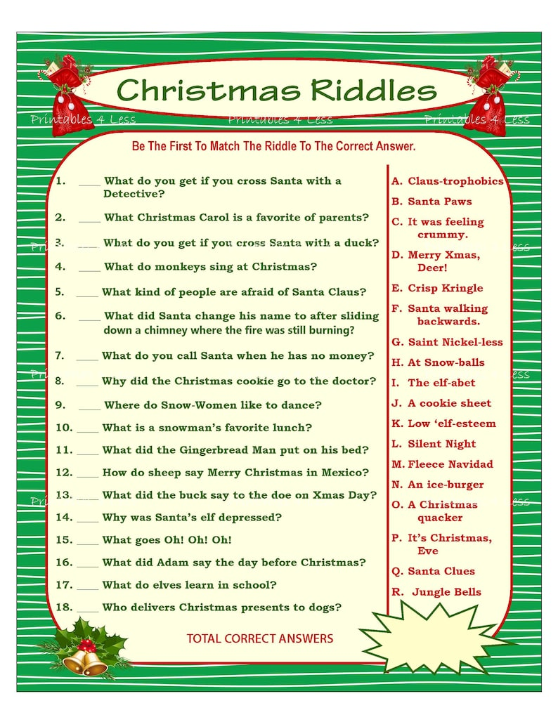 picture about Printable Riddles With Answers referred to as Xmas Riddle Recreation, Do it yourself Vacation Bash Activity, Printable Xmas Match, Do it yourself Recreation For Getaway, Christmas Recreation Strategy, Baby Match - Printables 4 Fewer
