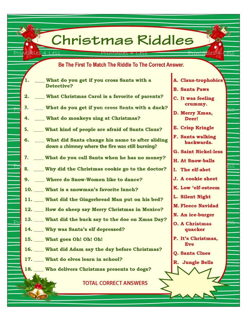 photo about Printable Riddles named Xmas Riddle Activity, Do it yourself Vacation Social gathering Sport, Printable Xmas Activity, Do-it-yourself Recreation For Family vacation, Christmas Recreation Notion, Little one Match - Printables 4 Fewer