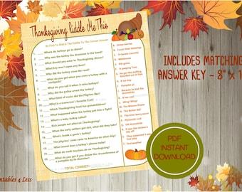 Thanksgiving Game, Printable Thanksgiving Riddle Game, Thanksgiving Party Game, Fall Party Game, Kid Thanksgiving Game - Printables 4 Less