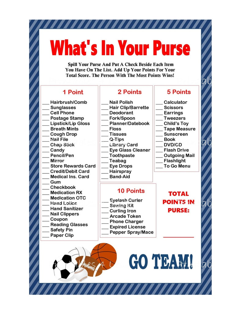 picture relating to What's in Your Purse Game Printable named Sporting activities Purse Match, Printable Recreation Whats Within just Your Purse Activity, Mommys Purse Sport, Child Purse Video game, Video game Youngster Shower -Printables 4 Much less 0079