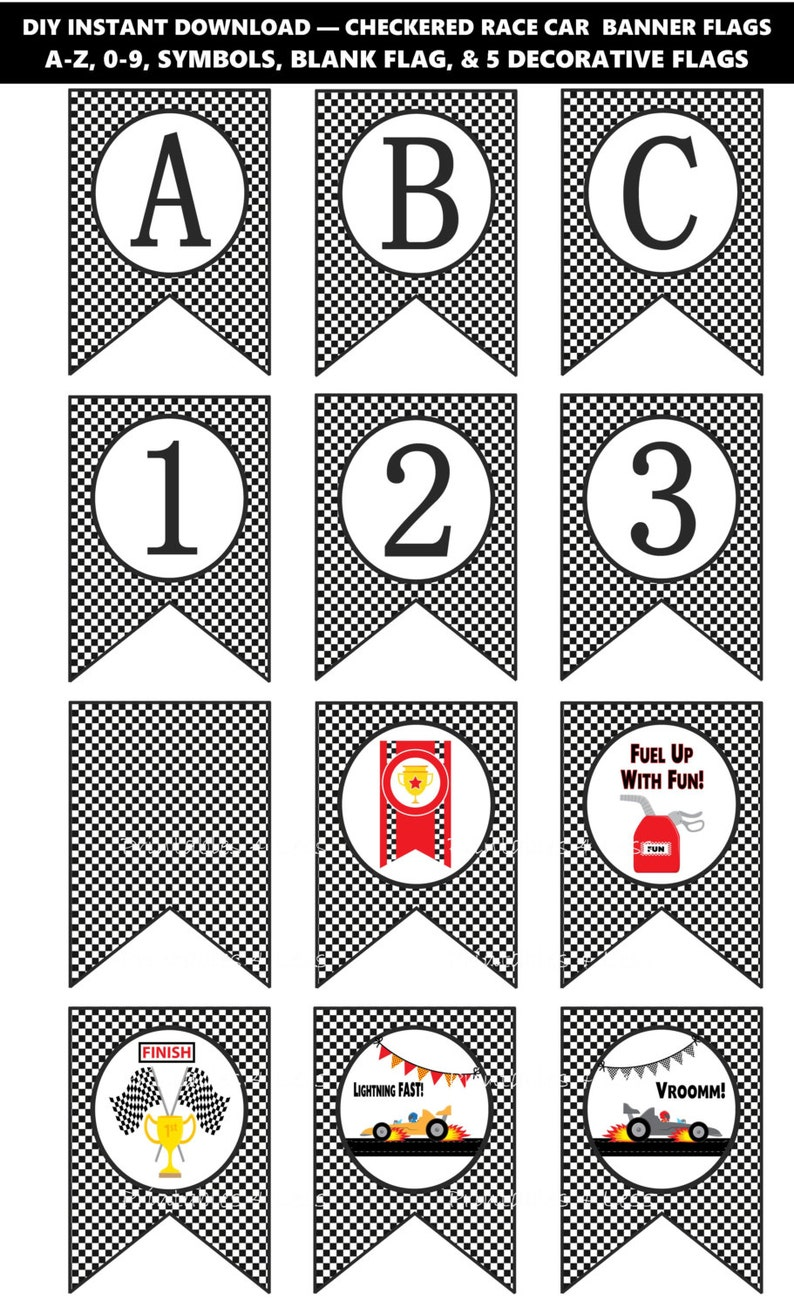 graphic about Checkered Flag Printable titled Black White Checkered Banner, Printable Checkered Flag Banner, Race Motor vehicle Banner, Race Car or truck Birthday Banner, Vehicle Banner, A-Z -Printables 4 A lot less