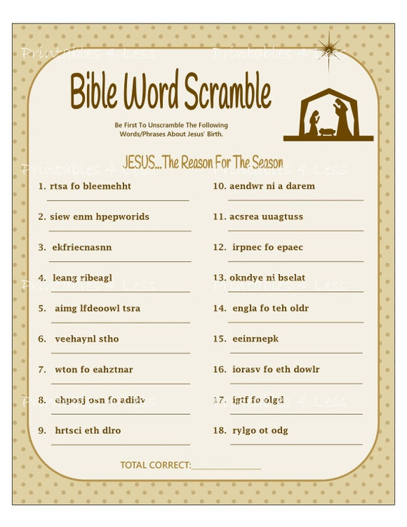 Christmas Word Scramble.Bible Word Scramble Printable Christmas Word Scramble Diy Christmas Game Christian Word Game Holiday Fun Game By Printables 4 Less