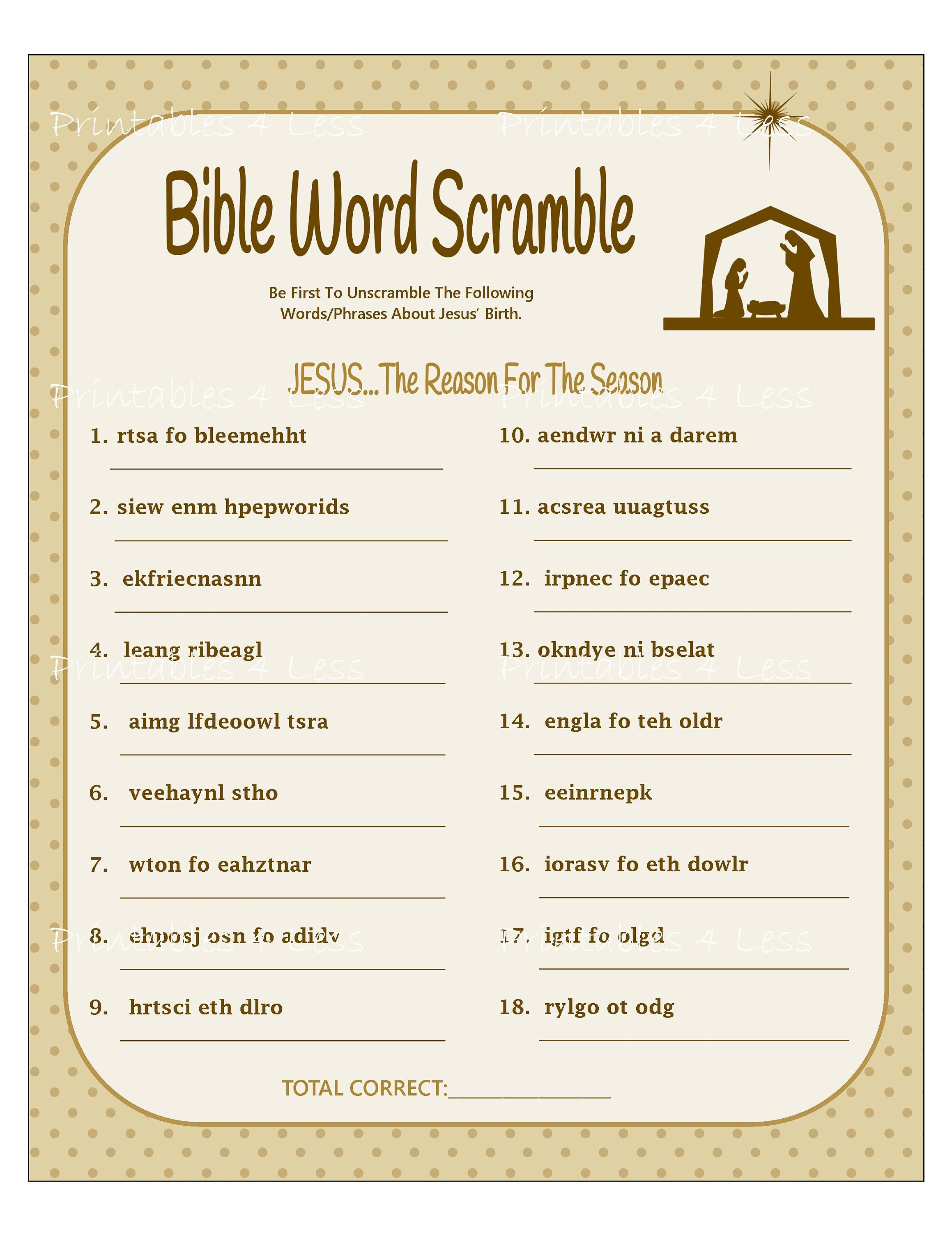 graphic about Christmas Word Scramble Printable named Bible Phrase Scramble, Printable Xmas Term Scramble, Do-it-yourself Xmas Recreation, Christian Phrase Match, Family vacation Exciting Activity - By means of Printables 4 Much less
