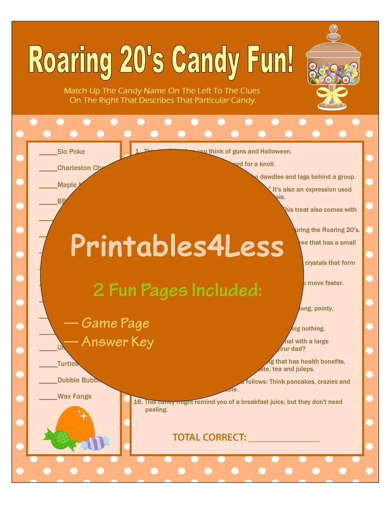 image relating to Printable Party Game identified as 1920s Sweet Trivia Sport, Printable Occasion Activity, Do-it-yourself Roaring 20s Occasion, Ice Breaker Match, Sweet Matching Video game, Community Sport - Printables 4 Considerably less