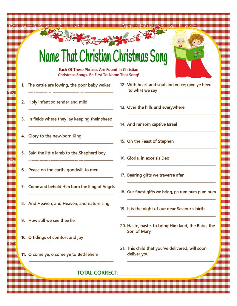 It is a graphic of Challenger Printable Christmas Song Games
