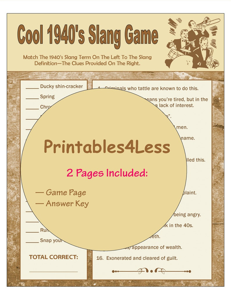 photo relating to Printable Party Game titled 1940s Slang Activity, 1940s Bash Recreation Printable, Celebration Neighborhood Video game, Meal Get together Video game, Head Teaser Sport, Icebreaker Video game - Printables 4 A lot less